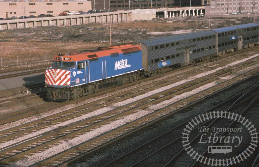 Metra Diesel Locomotive 184  at Chicago in 1999 - Mike Reynolds