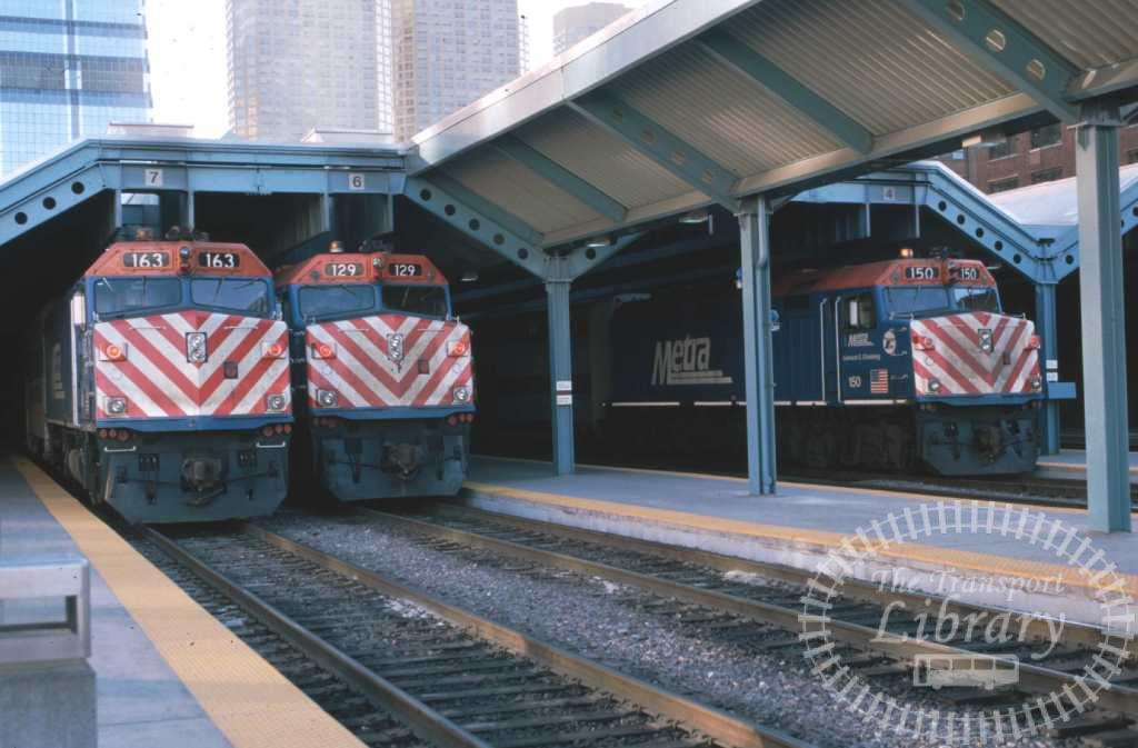 Metra Diesel Locomotive 163 129 150  at Chicago in 1999 - Mike Reynolds