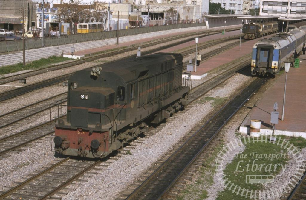 SNCFT Tunisian Railways Diesel Locomotive D1 71  at Tunis in 1990 - Mike Reynolds