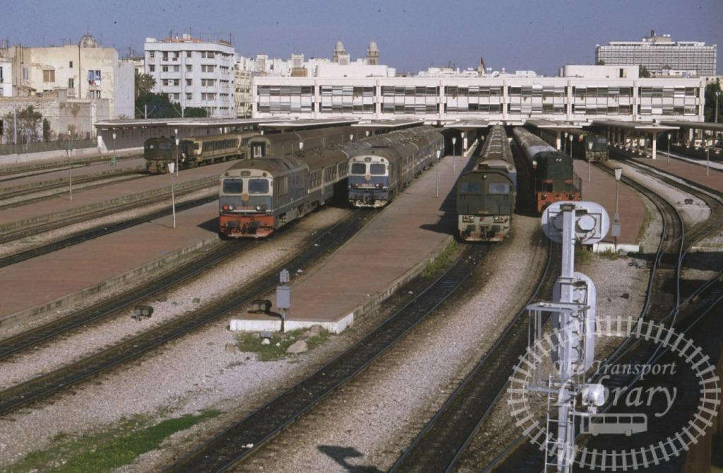 SNCFT Tunisian Railways Diesel Locomotive Lineup  at Tunis in 1990 - Mike Reynolds