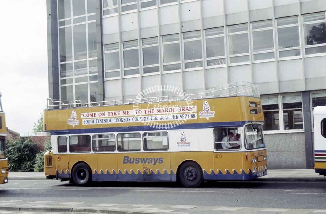 Tyne and Wear Busways Leyland PDR1/1 1218 KBB118D at South Shields in 1988 - Aug 1988 - Roy Marshall