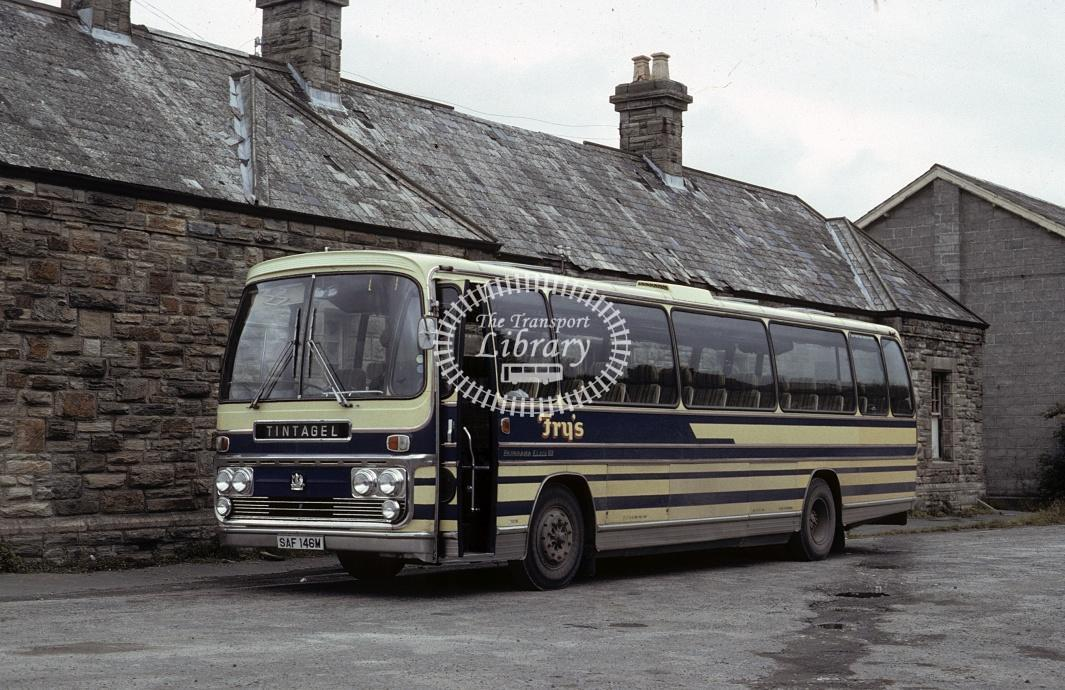 Fry, Tintagel Bedford YRT SAF146M at Wadebridge in 1982 - Jul 1982 - Roy Marshall