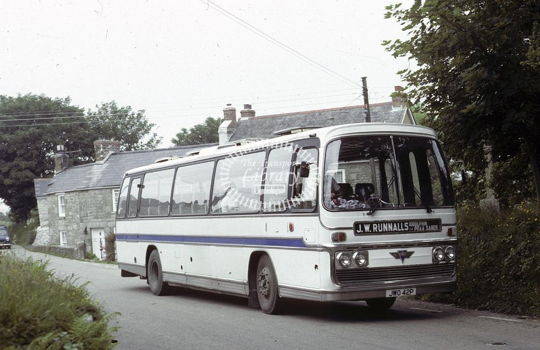 Runnals, Townsend AEC Reliance JWO42P at Godolphin Cross in 1982 - Jul 1982 - Roy Marshall