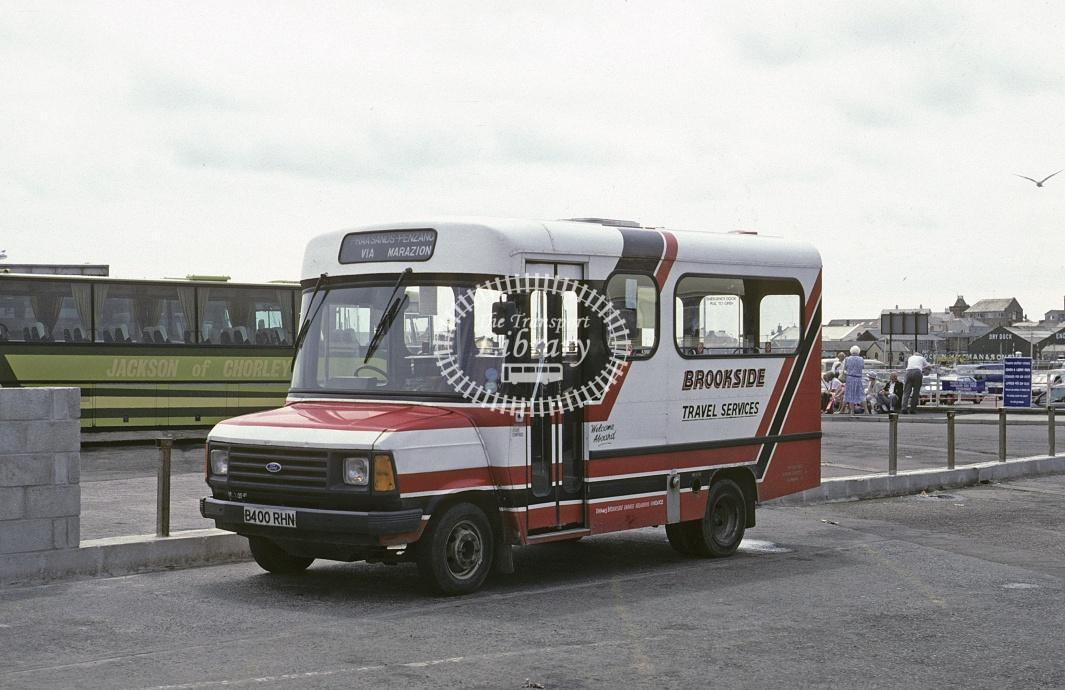Thomas, Brookside Ford Transit B400RHN at Penzance in 1991 - Jul 1991 - Roy Marshall