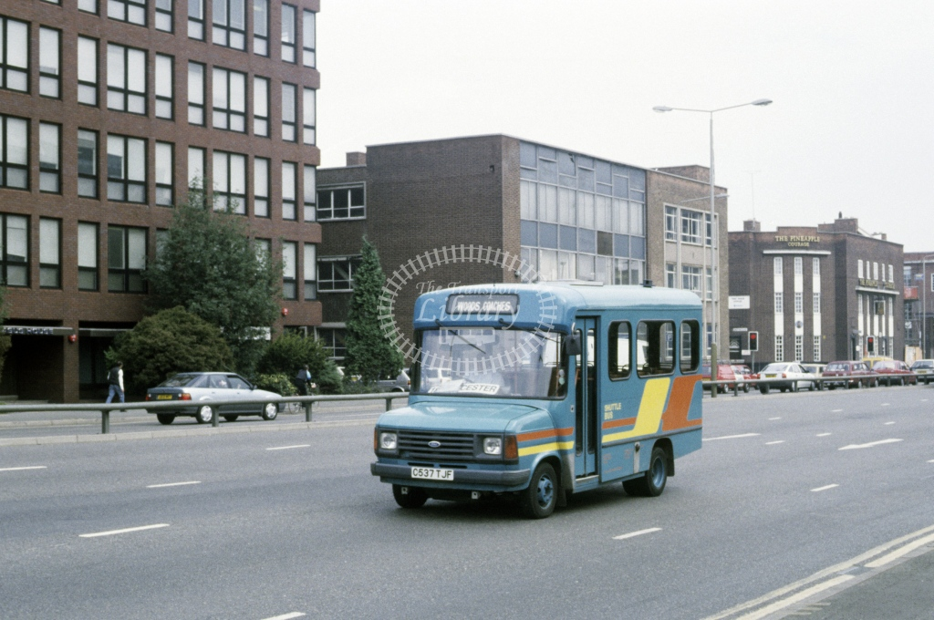 Wood, Wigston Ford Transit C537TJF  at Leicester  in 1990 - Aug - Roy Marshall