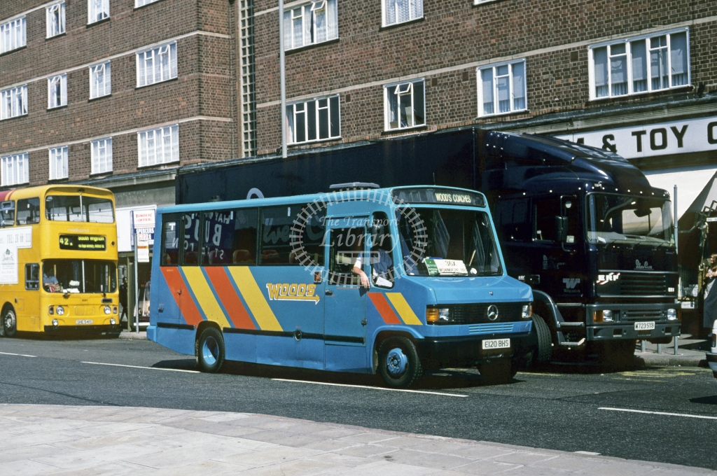Wood, Wigston Mercedes 609D E120BHS  at Leicester  in 1985 - Aug - Roy Marshall