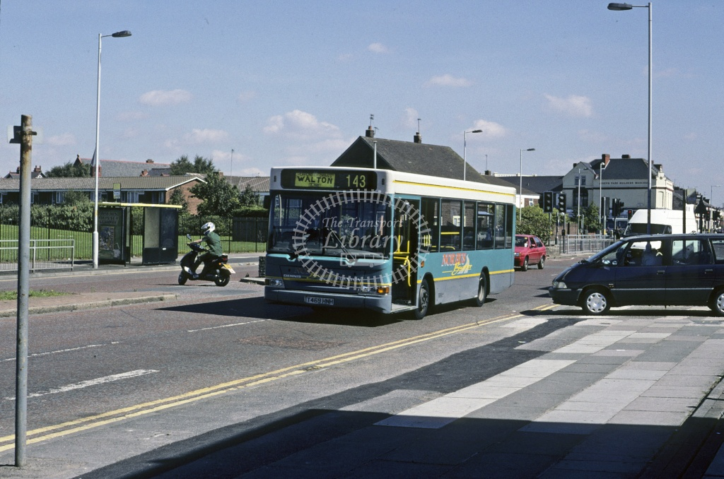 Norbus, Kirkby Dennis Dart SLF T469HNH at Bootle in 1991 - Aug 1991 - Roy Marshall