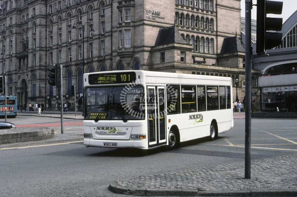 Norbus, Kirkby Dennis Dart SLF W363ABO at Liverpool in 1993 - May 1993 - Roy Marshall