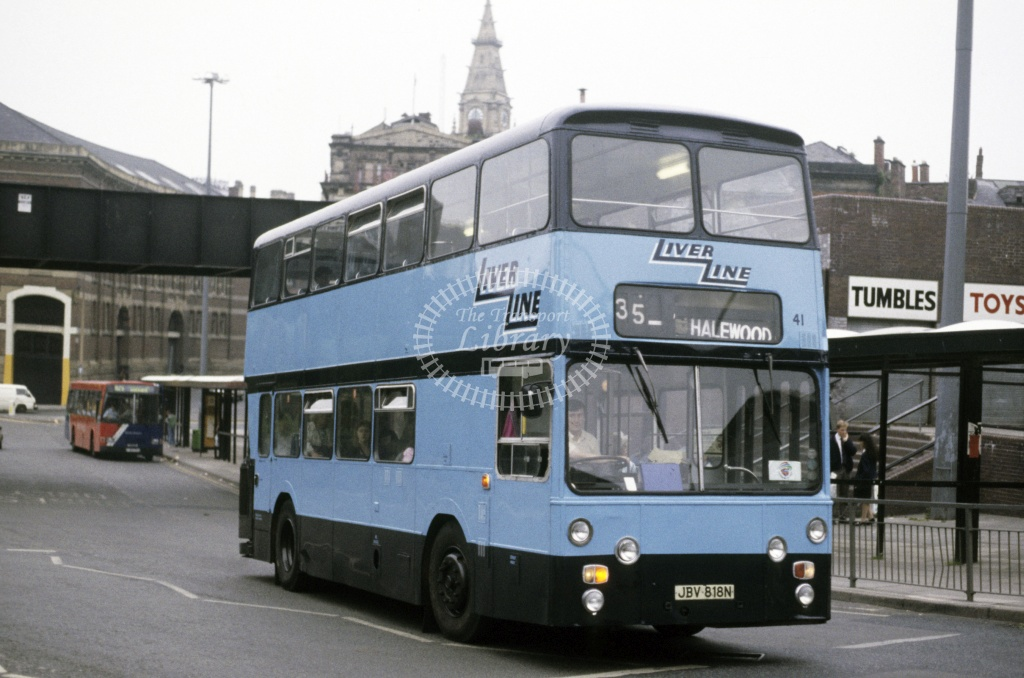 LiverLine, Liverpool Leyland AN68 41 JBV818N at Liverpool in 1990 - Jun 1990 - Roy Marshall