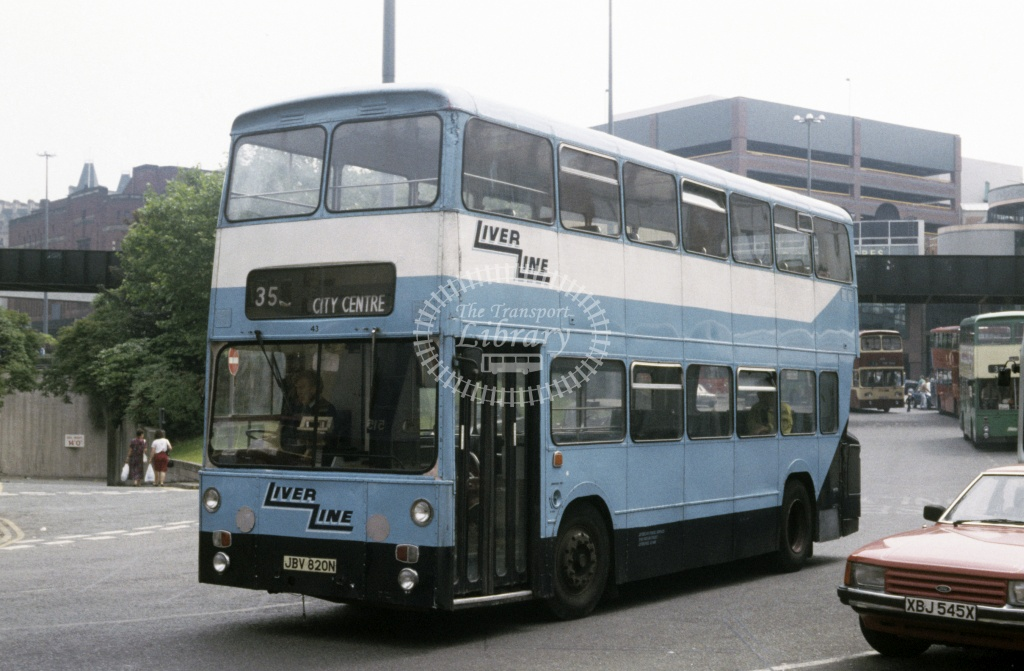 LiverLine, Liverpool Leyland AN68 43 JBV820N at Liverpool in 1990 - Jun 1990 - Roy Marshall