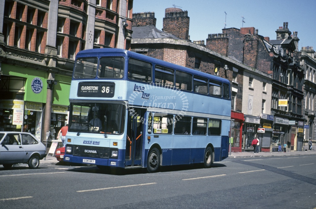 LiverLine, Liverpool Leyland AN68 103 G36HKY at Liverpool in 1992 - May 1992 - Roy Marshall