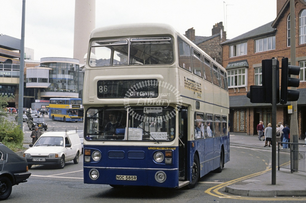 MerseyLine, Bootle Leyland FE30 NOC585R at Liverpool in 1993 - May 1993 - Roy Marshall