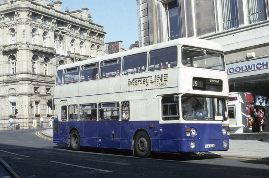 MerseyLine, Bootle Leyland FE30 SDA772S at Liverpool in 1995 - May 1995 - Roy Marshall