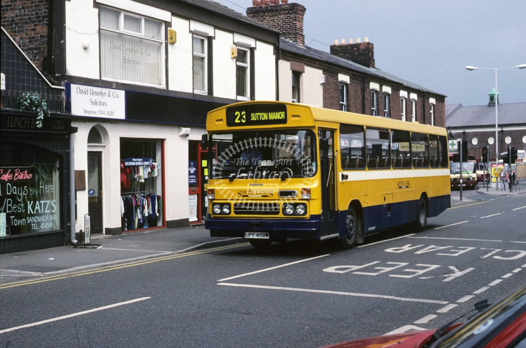 SLT  (Stewart), St Helens Leyland PSU3E LPY458W at St Helens in 1994 - May 1994 - Roy Marshall