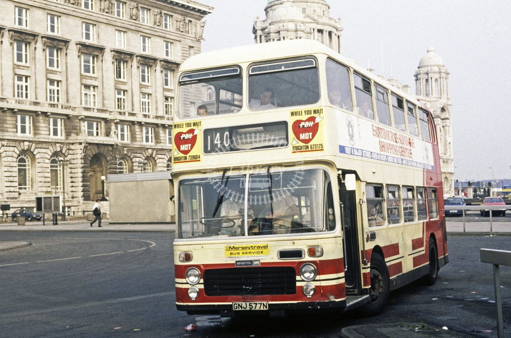 Topping, Liverpool Bristol VRTSL GNJ577N at Liverpool in 1989 - Jul 1989 - Roy Marshall