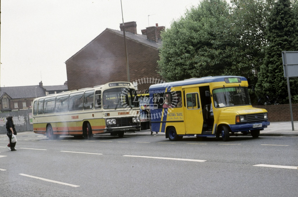 Victoria Travel  (Laurenson), Haydock Ford Transit B454WTC at St Helens in 1994 - May 1994 - Roy Marshall