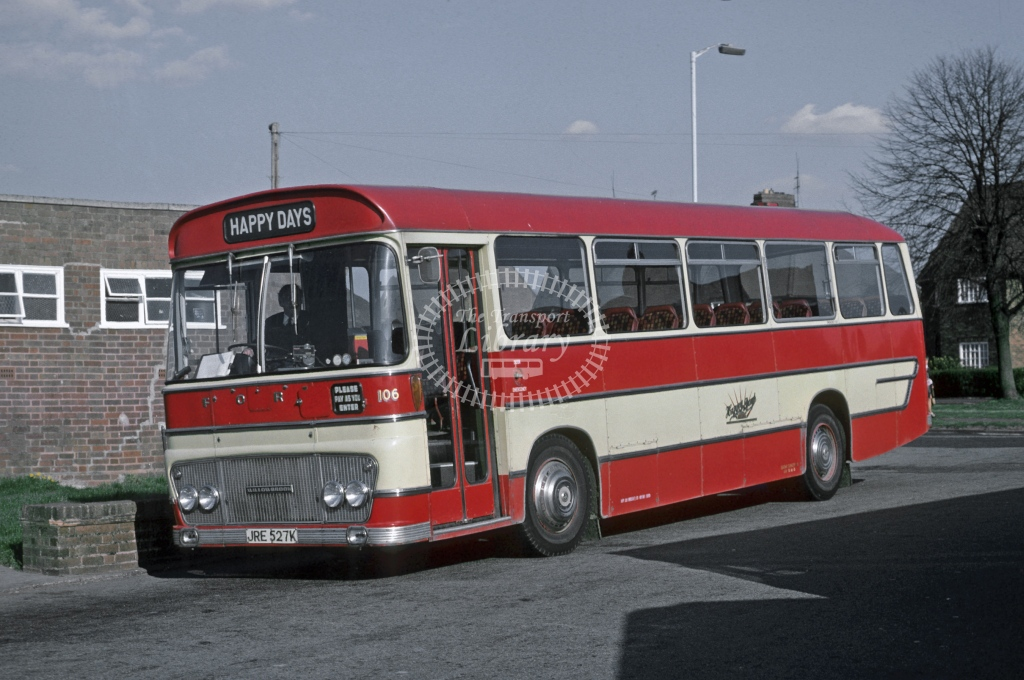 Happy Days, Woodseaves Bedford YRQ 1823 JRE527K  at Donnington  in 1976 - Apr - Roy Marshall