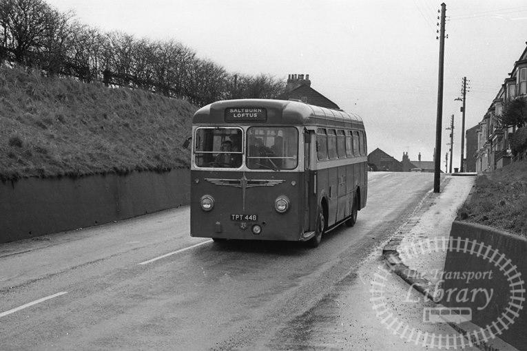 Saltburn Motor Services Leyland Tiger Cub 48 TPT448 at Saltburn ,Loftus Bank  in 1970 on route Unknown - Neville Stead Collection