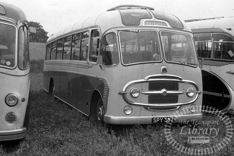 Saltburn Motor Services Bedford SB3 22 SPY387 at Saltburn Area in 1970 on route Unknown - Neville Stead Collection