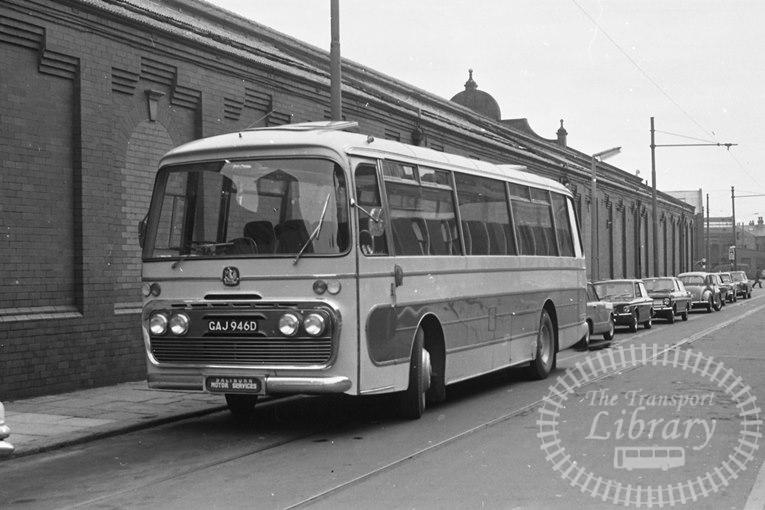 Saltburn Motor Services Bedford VAM5 51 GAJ946D at Blackpool ,Blundell Street  in 1968 on route Unknown - Neville Stead Collection