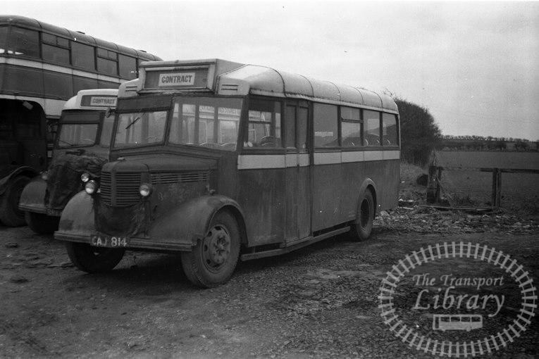 Saltburn Motor Services Bedford OWB 27 CAJ814 at Saltburn Area in 1958 on route Unknown - Neville Stead Collection