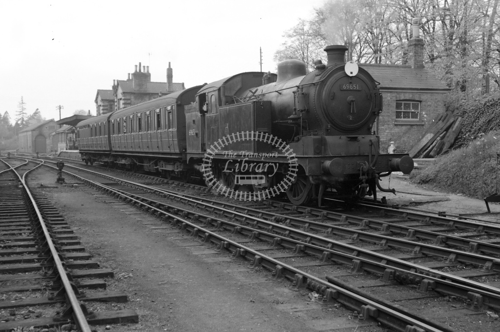 BR British Railways Steam Locomotive Class N7 69651  at Saffron Walden in 1957 - 20/04/1957 - Neville Stead Collection