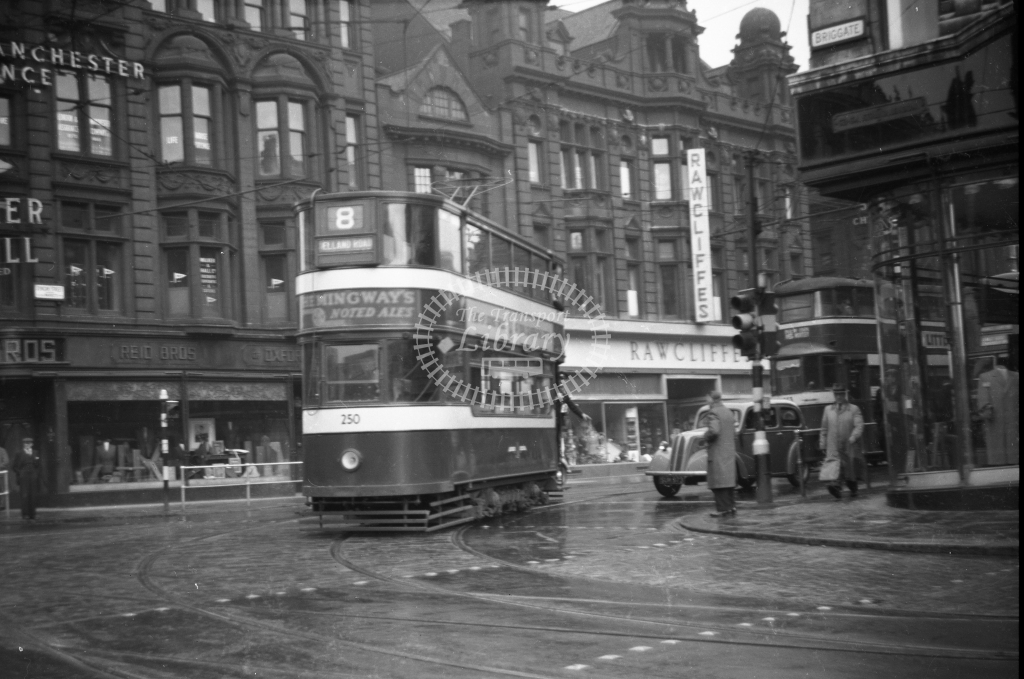 JT-T71 - Leeds 250 - route 8 - southbound car turning from Boar Lane into Briggate looking north-east - 12 September 1954 - Julian Thompson