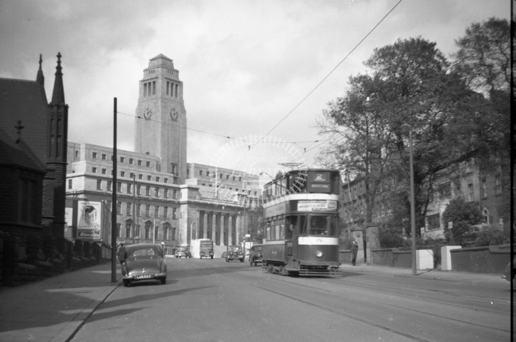 JT-T73 - Leeds 176 - route 2 - Woodhouse Lane with University looking north - 17 September 1954 - Julian Thompson
