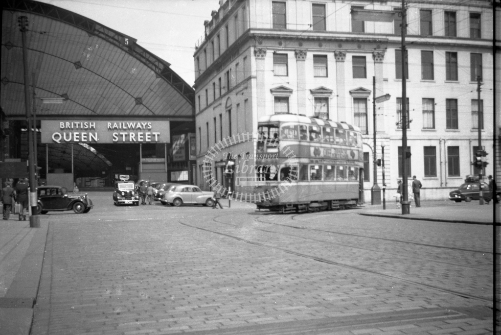 JT-T90 - Glasgow tram - route 23 - Queen Street station looking north - 13 June 1954 - Julian Thompson