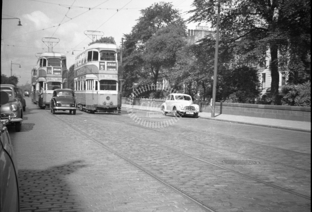 JT-T91 - Glasgow trams - route 5 - Sauchiehall Street just west of Charing Cross looking west - 14 June 1954 - Julian Thompson