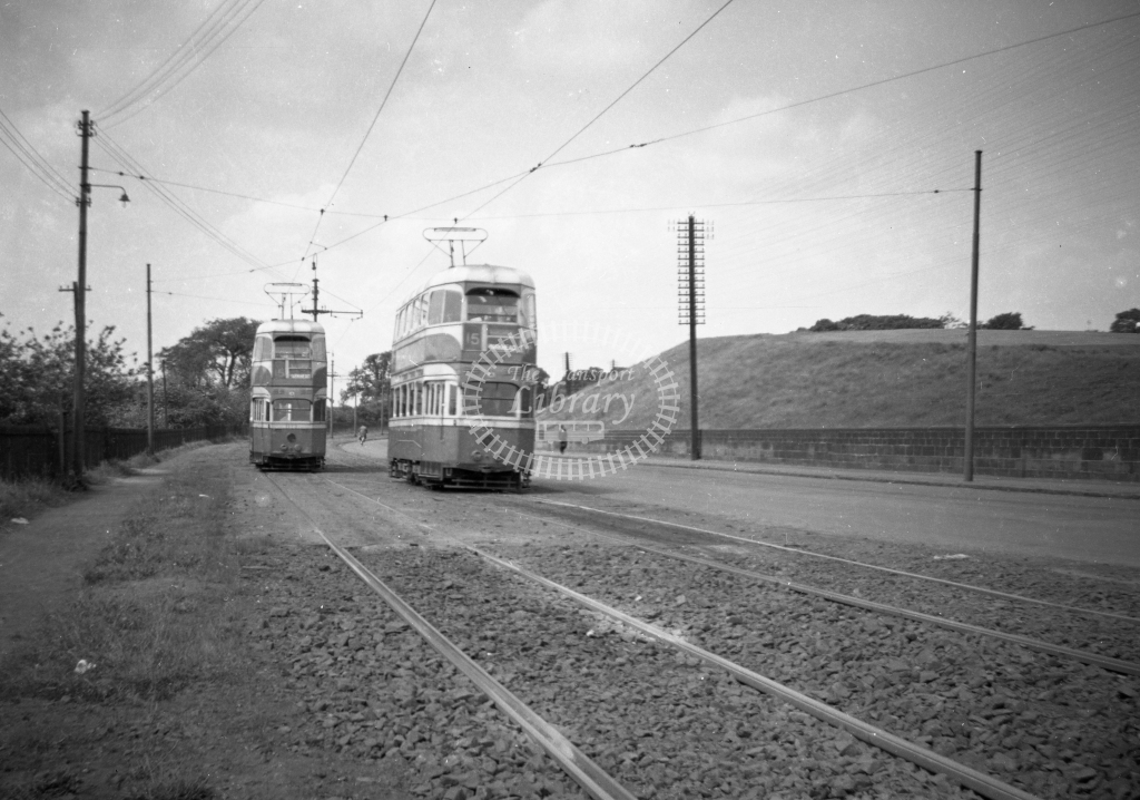 JT-T93 - Glasgow trams - route 15 - Langloan reservation looking west with Andsterston Cross to Airdrie car (nearest) passing Airdrie-Langloan local - 13 June 1954 - Julian Thompson
