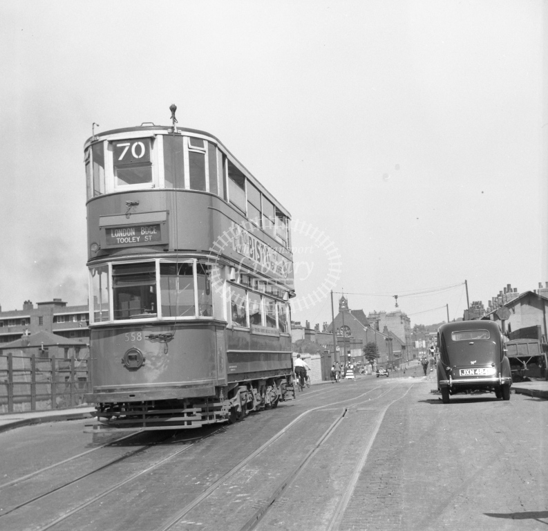 Meredith 73-10 - London 558 route 70 - Creek Road Deptford, centre of old bridge down line - car proceeding to Greenwich; blind already turned for return journey - 10 July 1949 - Online Transport Archive
