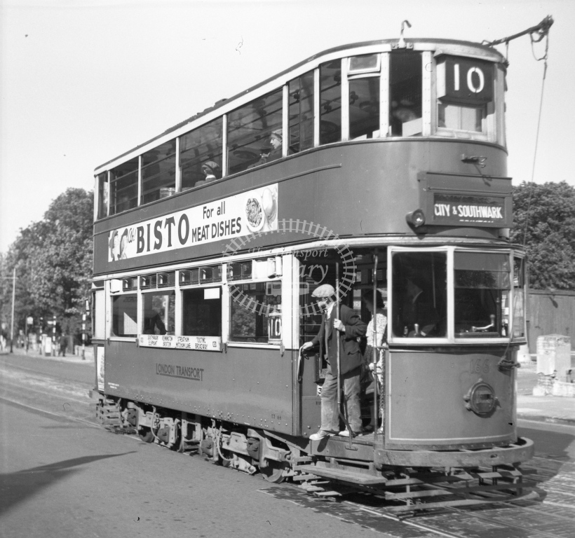 Meredith 80-5 - London 166 route 10 - Brixton Hill, New Park Road - noted fitted with E?1 trucks - 5 August 1949 - Online Transport Archive