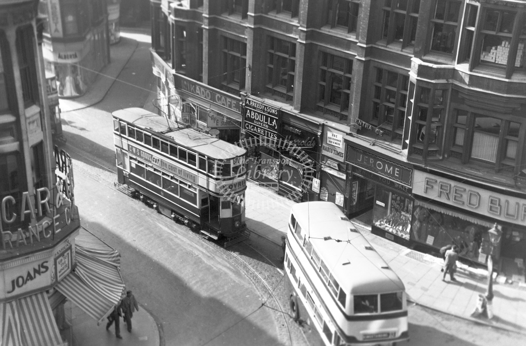 Birmingham City Transport Tram/Strassenbahn 791  at Birmingham city centre  in 1950 -  02/07/1950  - Peter Gray