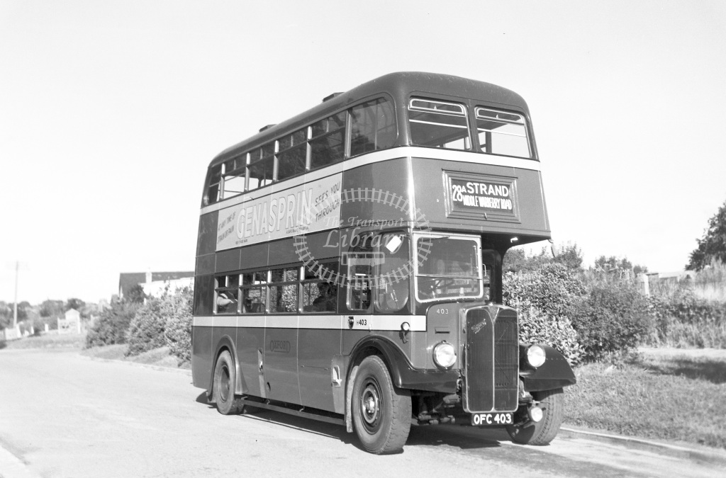 Oxford Bus Company Motor bus Class Reg. No. OFC 403 403  at Dairy Hill (no further details)  in 1950 -  16/08/1950  - Peter Gray