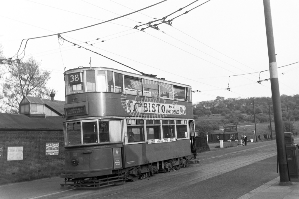 LPTB London Passenger Transport Board Tram/Strassenbahn 181  at Abbey Wood terminus  in 1952 -  19/04/1952  - Peter Gray