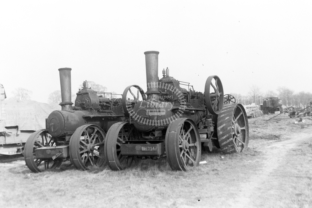 Private Owner Traction Engine Class Fowler ploughing engines b. 1918 (15202, 15203) BH 7343 + BH7344)  at Chalfont & Latimer  in 1953 -  20/03/1953  - Peter Gray