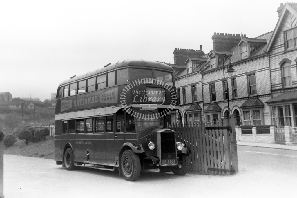 Private Owner Motor Bus Class Southern National 3101 DR 8804  at Barnstaple Junction  in 1954 -  18/04/1954  - Peter Gray