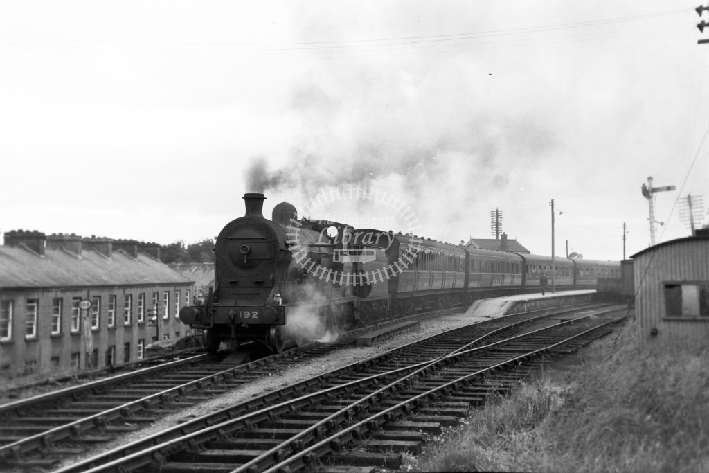 GNR(I) Great Northern Railway (Ireland) Steam Locomotive 192  at Omagh  in 1955 -  21/06/1955  - Peter Gray