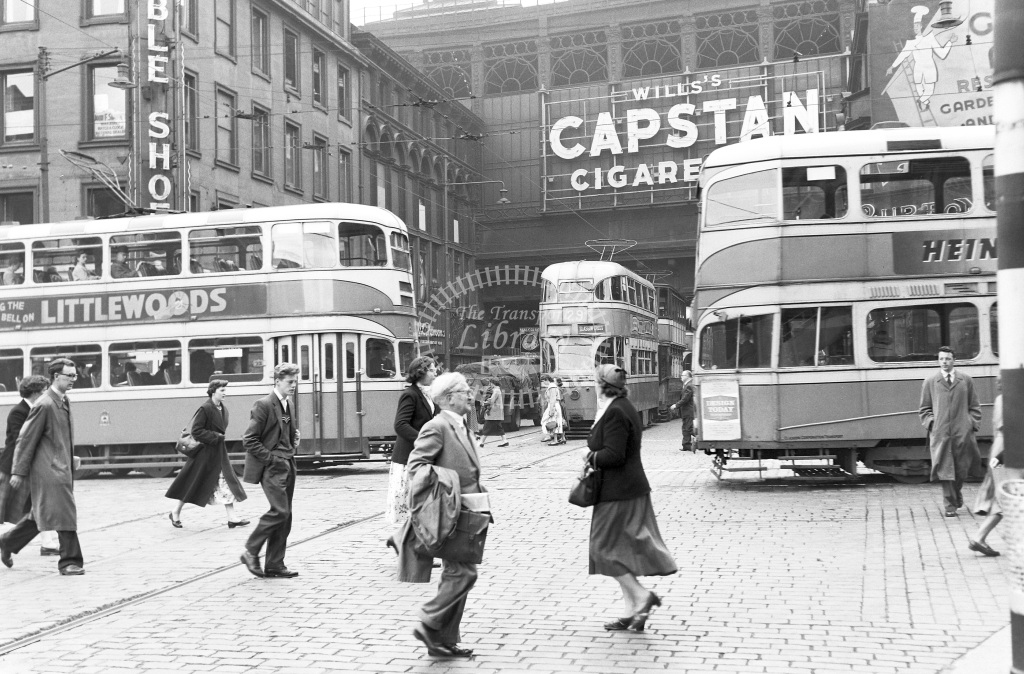 Glasgow Corporation Tramways Tram/Strassenbahn Class Coronation Mk II 'Cunarder' car No. 1020 (facing)  at City centre, Glasgow  in 1957 -  12/06/1957  - Peter Gray