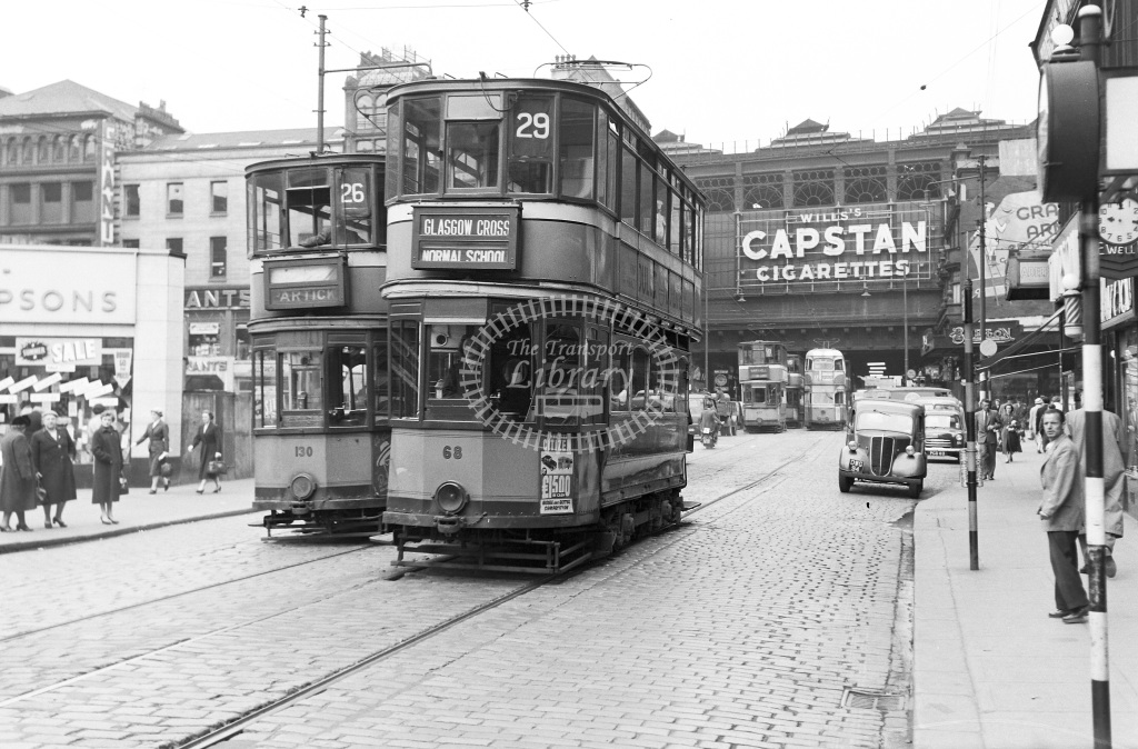 Glasgow Corporation Tramways Tram/Strassenbahn Class Standard Car Nos. 68 & 130  at City centre, Glasgow  in 1957 -  12/06/1957  - Peter Gray