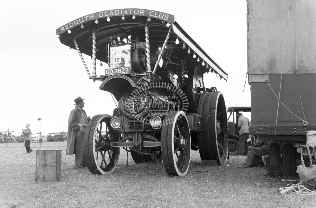 Private Owner Traction Engine Class Burrell Showman's road locomotive (3159/09) CO 3823 Gladiator  at Camborne  in 1957 -  20/07/1957  - Peter Gray