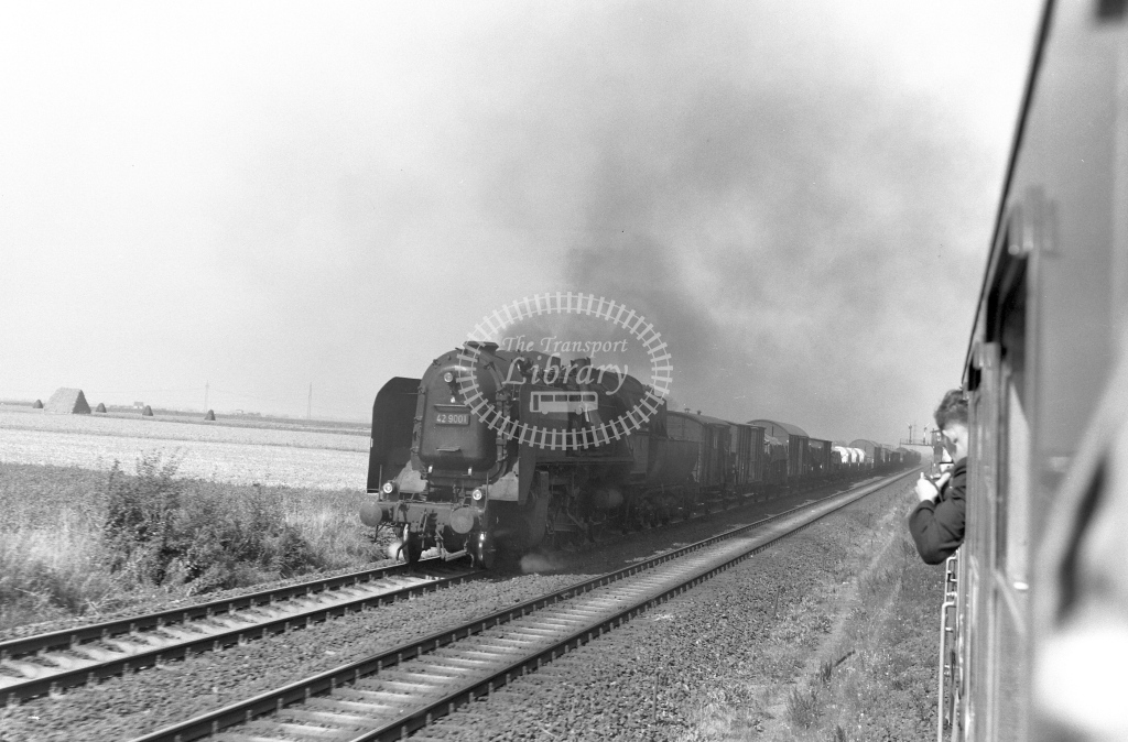 DB West Germany Railways Deutsche Bundesbahn Steam Locomotive No 42 9001  at Spich  in 1958 -  21434  - Peter Gray