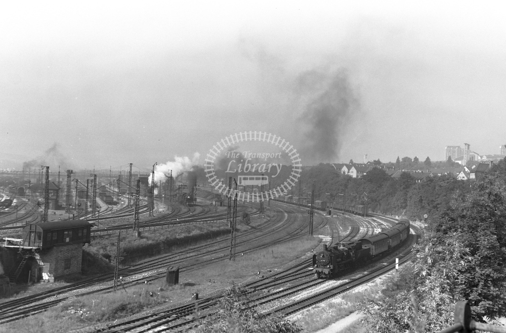 DB West Germany Railways Deutsche Bundesbahn Steam Locomotive Nos 38 3775 and 18 628  at Ulm  in 1958 -  21442  - Peter Gray