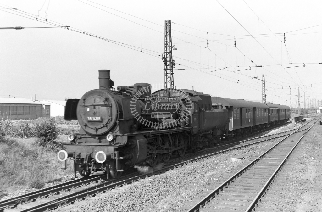 DB West Germany Railways Deutsche Bundesbahn Steam Locomotive No 38 1408  at Bietigheim  in 1958 -  21442  - Peter Gray