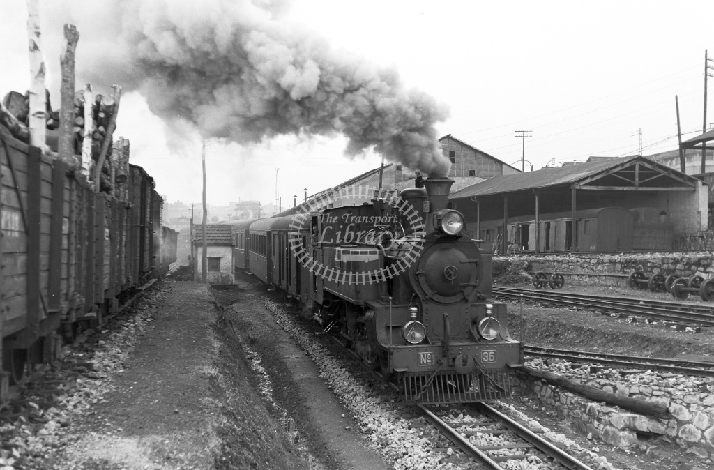 VA Ferrocarril Vasco Asturiano Steam Locomotive Class  36  at Oviedo  in 1960 -  20/05/1960  - Peter Gray