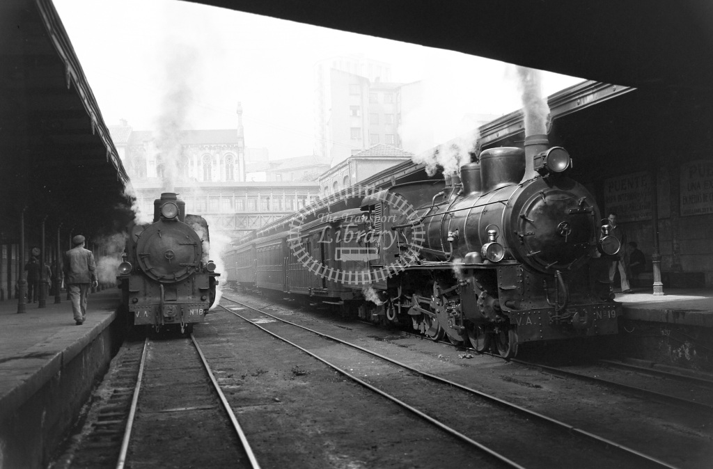 VA Ferrocarril Vasco Asturiano Steam Locomotive 18 19  at Oviedo  in 1960 -  20/05/1960  - Peter Gray