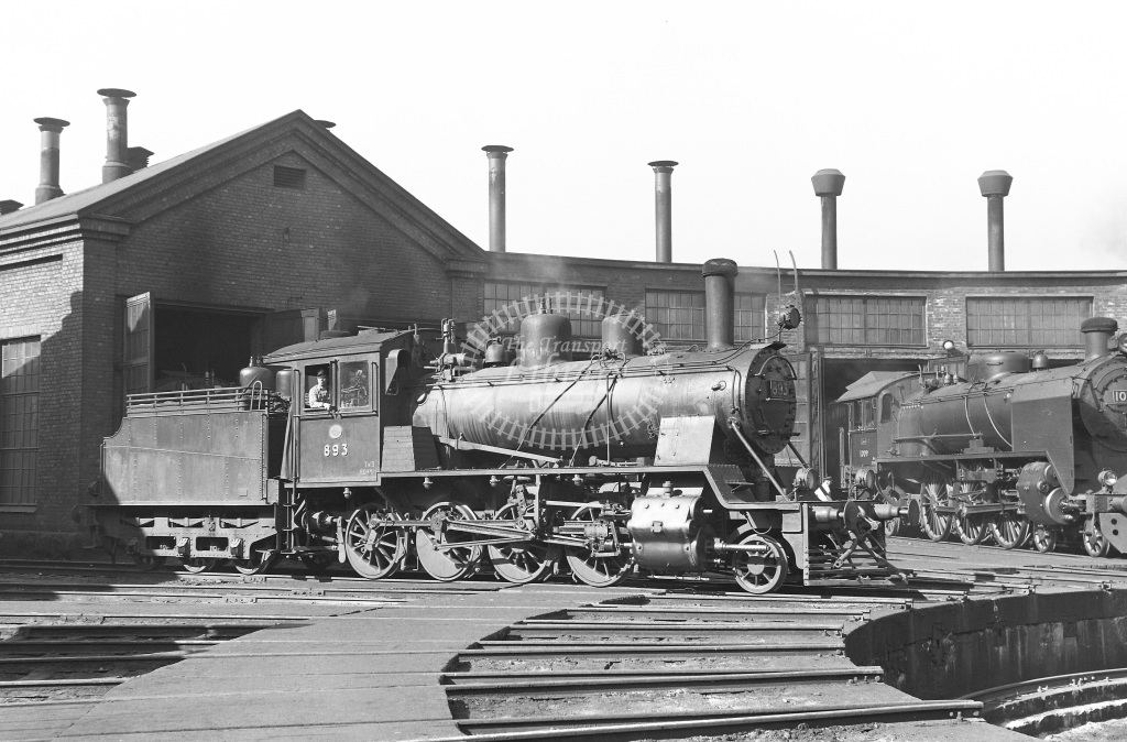 VR Finland Railways Steam Locomotive Class Vr Class Tk3 2-8-0 893  at Pasila MPD  in 1962 -  21/05/1962  - Peter Gray