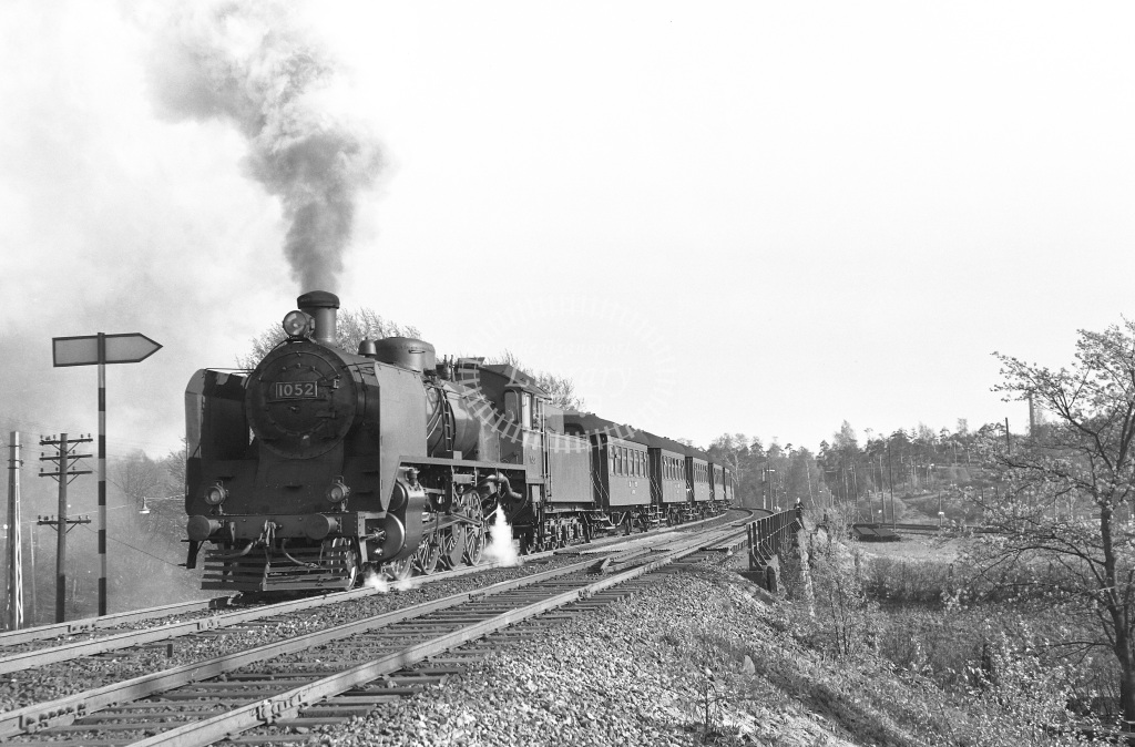VR Finland Railways Steam Locomotive Class Vr Class Tr1 2-8-2 1052  at Pasila Bank  in 1962 -  21/05/1962  - Peter Gray