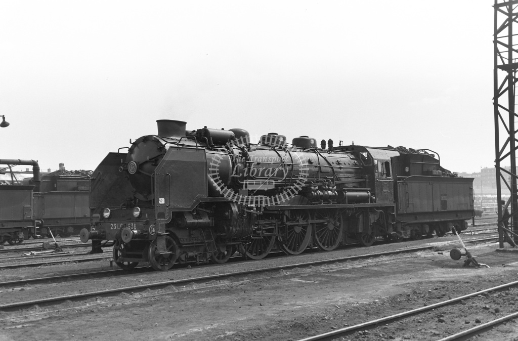 SNCF French Railways Shed Scene  Class Class G 4-6-2 231G638  at Batignolles MPD  in 1963 -  12/05/1963  - Peter Gray